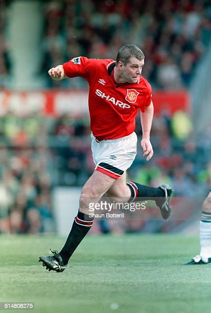 English footballer Gary Pallister playing for Manchester United against Liverpool in an English Premier League match at Old Trafford Manchester 1st...