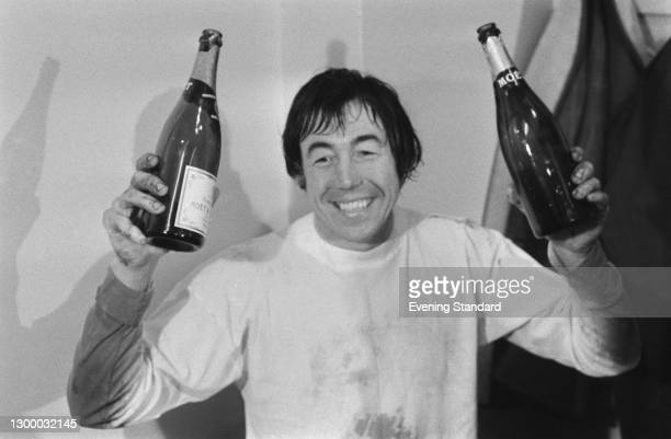 English footballer Gordon Banks of Stoke City FC celebrates his team's win in the second replay of the Football League Cup Semi-Final against West...