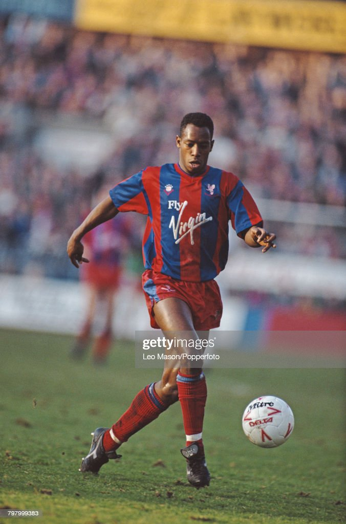 English footballer Ian Wright pictured in action for Crystal Palace during the League Division One match between Crystal Palace and Chelsea at Selhurst Park stadium in London on 26th December 1989. The match would end in a 2-2 draw.