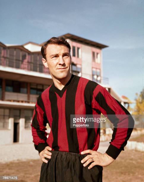 English footballer Jimmy Greaves posed in an A C Milan kit after recently signing for the Italian club, Milan, Italy, August 1961.