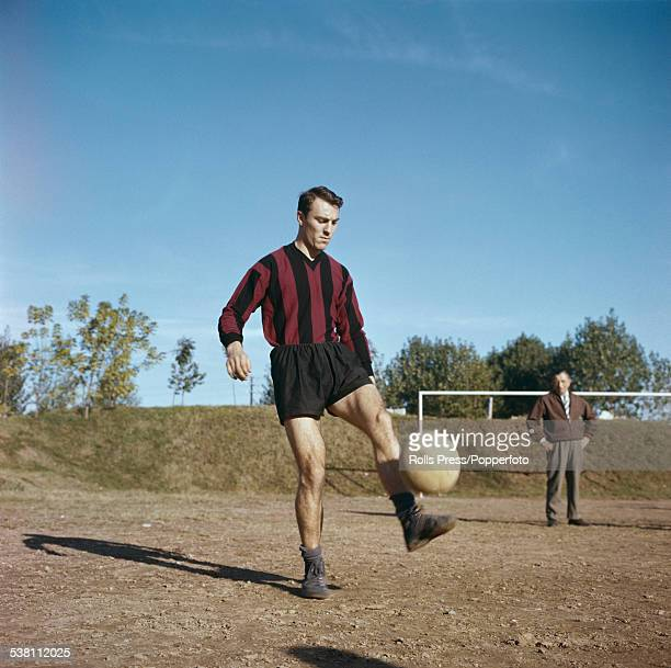 English footballer Jimmy Greaves with a ball during a training session for A.C. Milan in Italy in 1961.