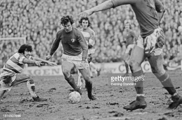 English footballer John Hollins of Chelsea FC during an FA Cup 3rd round replay against Queens Park Rangers at Loftus Road in London, UK, 15th...