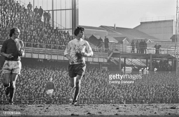 English footballer Kevin Hector of Derby Country FC during a League Division One match against Leicester City at Derby, UK, 10th March 1973. The...