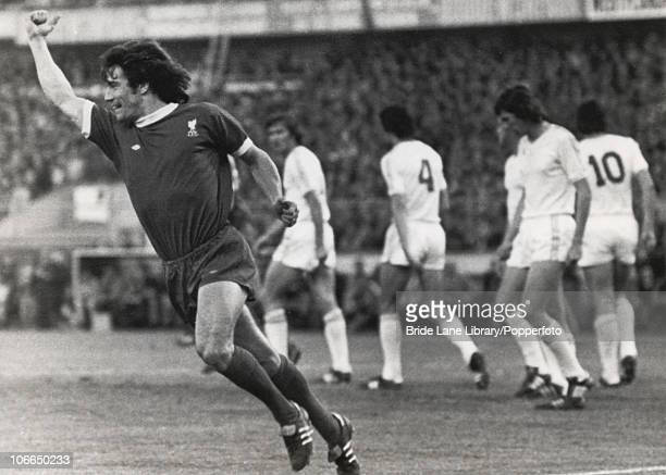 English footballer Kevin Keegan of Liverpool FC celebrates after his equalizer against Club Brugge which assured his team's victory in the UEFA Cup...