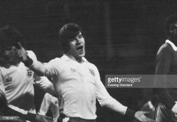 English footballer Malcolm Macdonald celebrates one of his five goals for England in a European Championship Qualifier against Cyprus at Wembley...