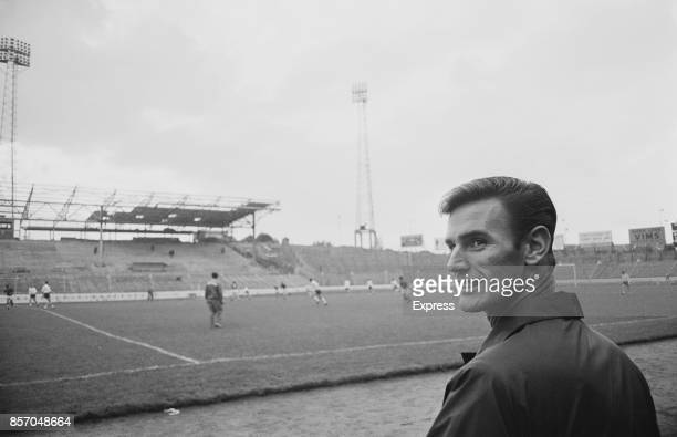 English footballer of Leeds United FC Alan Peacock at the England team training session UK 19th October 1965