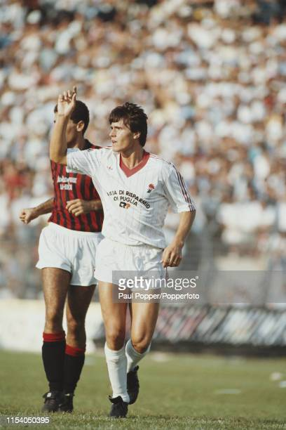 English footballer Paul Rideout, striker with AS Bari, pictured in action on the pitch during the Serie A match between Bari and AC Milan in Bari,...