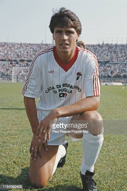 English footballer Paul Rideout, striker with AS Bari, pictured on the pitch at the club's ground prior to the Serie A match between Bari and AC...