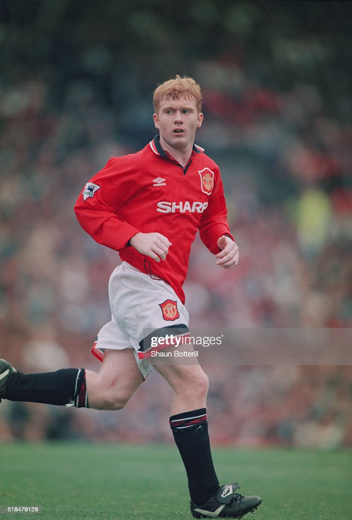 English footballer Paul Scholes playing for Manchester United against Bolton Wanderers in an English Premier League match at Old Trafford, Manchester, 16th September 1995. United won the match 3-0.