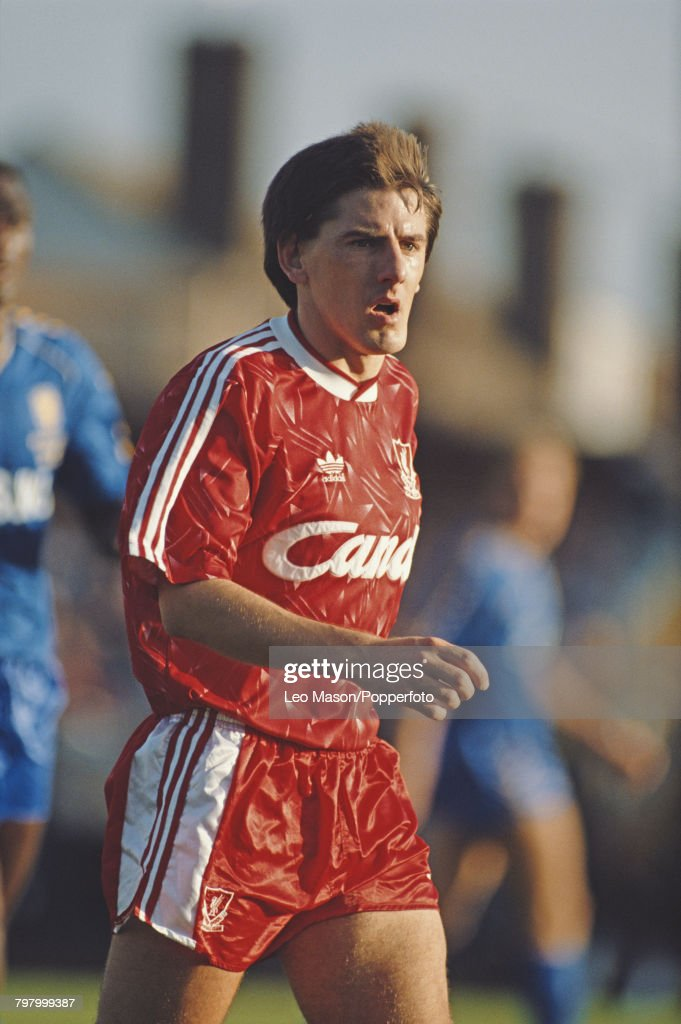 English footballer Peter Beardsley pictured in action for Liverpool FC during the League Division One match between Wimbledon and Liverpool at Plough Lane stadium in London on 14th October 1989. Liverpool would go on to win the game 2-1.