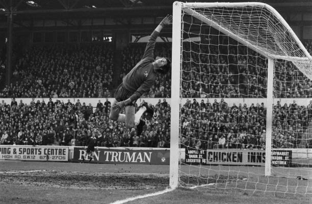 English footballer Peter Bonetti , the goalkeeper for Chelsea FC, during a League Division One match against Coventry City at Stamford Bridge in...
