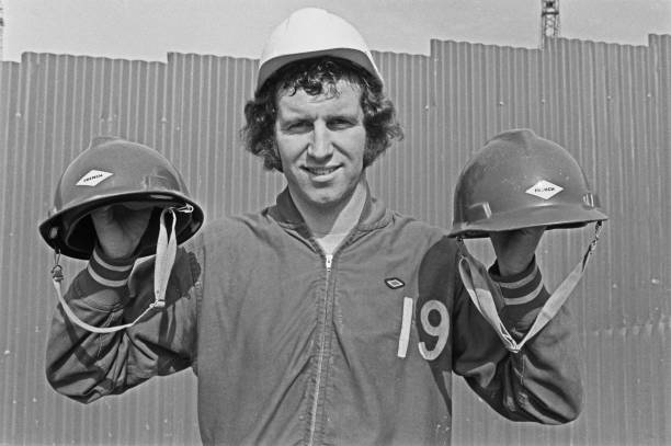 English footballer Peter Osgood of Chelsea FC visits the new East Stand being built at Stamford Bridge, the Chelsea football ground in London, UK,...