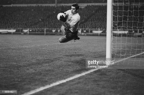 English footballer Peter Shilton, goalkeeper with Leicester City, in action playing for the England national football team in the international...