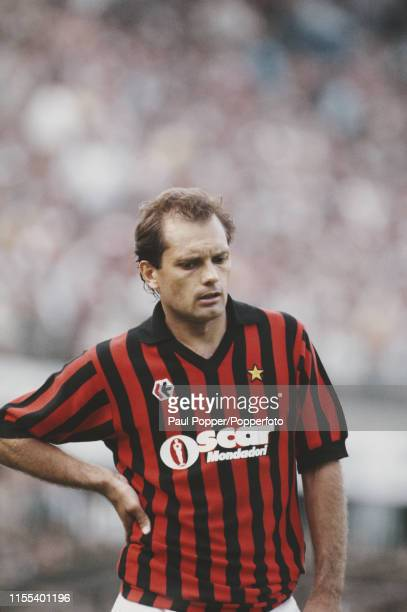 English footballer Ray Wilkins , midfielder with A C Milan, pictured during a Serie A match in the 1984-5 season in Italy in 1984.
