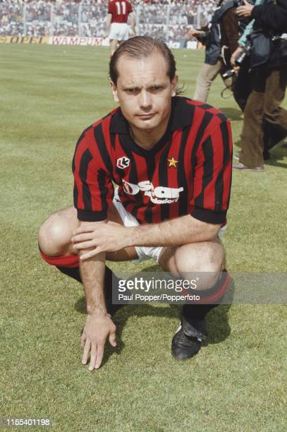 English footballer Ray Wilkins , midfielder with A C Milan, pictured on the pitch prior to playing in the Serie A match between Sampdoria and A C...