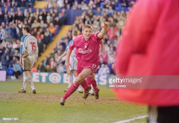 English footballer Steven Gerrard of Liverpool celebrates during an FA Cup Quarterfinal against Tranmere Rovers at Prenton Park Birkenhead 11th March...