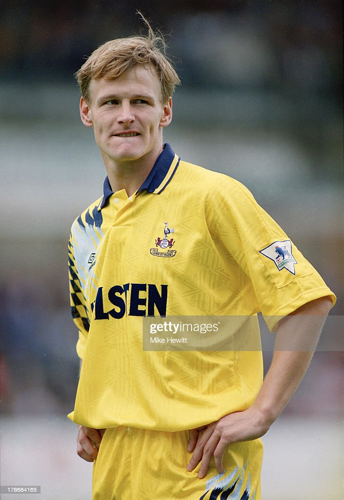 English footballer Teddy Sheringham, of Tottenham Hotspur, during an English Premier League match against Ipswich Town at Portman Road, Ipswich, 30th August 1992. The match ended in a 1-1 draw.