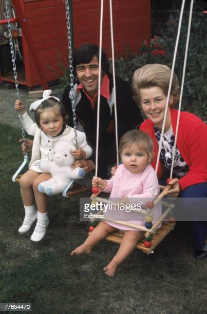 English footballer Terry Venables of Queens Park Rangers FC with his wife Yvette and their daughters circa 1970