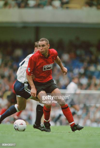 English footballer Vinnie Jones playing for Wimbledon against Tottenham Hotspur in an English Premier League match at White Hart Lane London 30th...