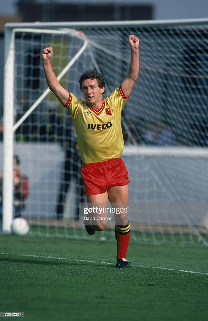 English footballer Wilf Rostron of Watford FC after scoring against Tottenham Hotspur, 27th September 1983.