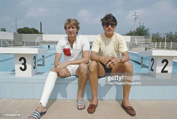 English footballers Gordon Cowans and Paul Rideout, midfielder and striker respectively with AS Bari, pictured together relaxing by the pool at their...