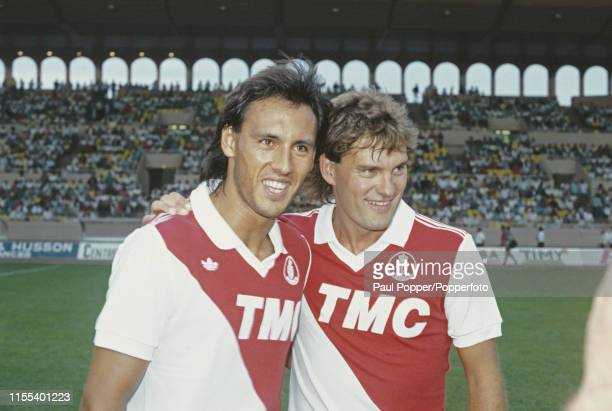 English footballers Mark Hateley and Glenn Hoddle, striker and midfielder respectively with AS Monaco FC, pictured together on the pitch at the...