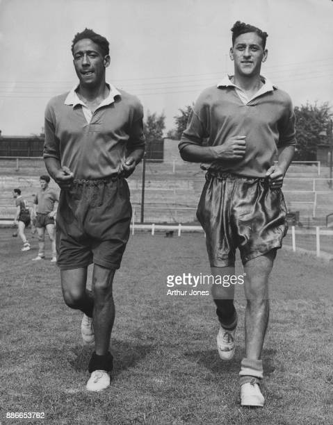 English footballers Roy Brown and Tony Collins of Watford F.C., training at the Watford ground, UK, 15th August 1957.