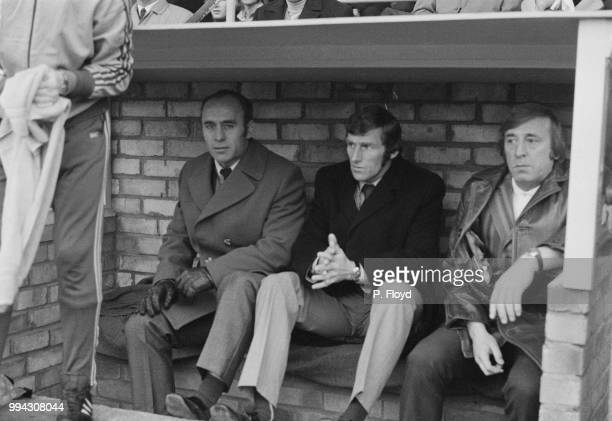 English former footballer and manager of Manchester City FC, Ron Saunders pictured on left with assistant manager Tony Book in the dugout at Maine...
