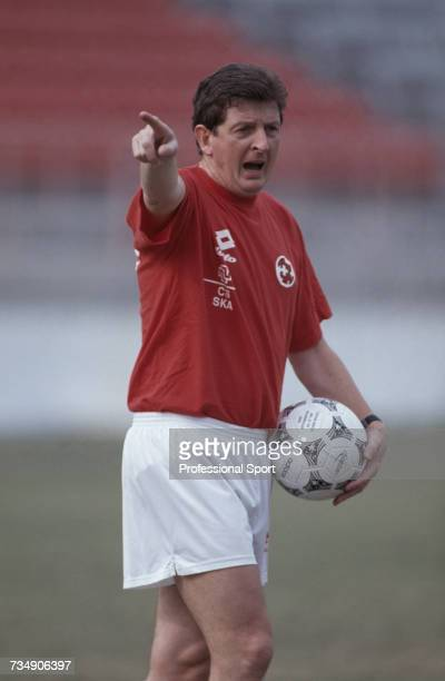 English former footballer and manager of the Switzerland national football team, Roy Hodgson pictured during a training session with the Swiss side...