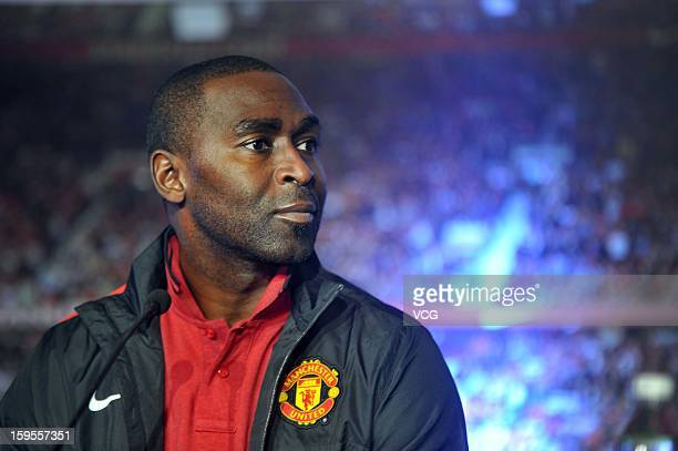 English former footballer Andy Cole attends a signing press conference between Manchester United FC and Wahaha Group on January 15 2013 in Hangzhou...