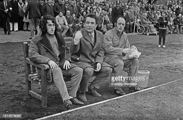 English former footballer Brian Clough , manager of Brighton and Hove Albion FC, during an FA Cup first round match against Walton and Hersham, UK,...