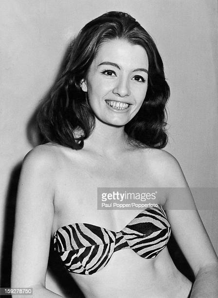 English former model and showgirl Christine Keeler in a bikini top circa 1963 Keeler's affair with British Secretary of State for War John Profumo...