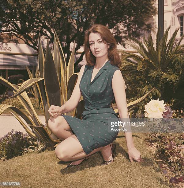 English former model showgirl and key figure in the Profumo scandal Christine Keeler posed wearing a blue spotty dress in Cannes France in May 1963