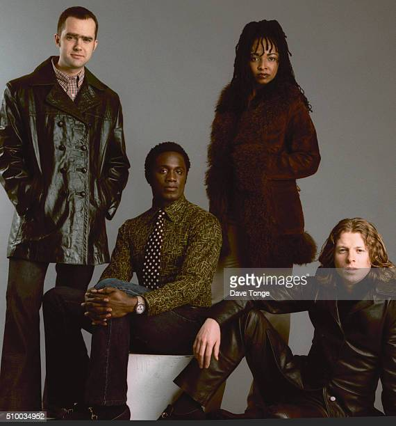 English funk and acid jazz group Brand New Heavies, Kings Cross, London, January 1997. Left to right: drummer Jan Kincaid, bassist Andrew Levy,...