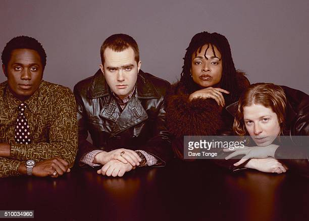 English funk and acid jazz group Brand New Heavies, Kings Cross, London, January 1997. Left to right: bassist Andrew Levy, drummer Jan Kincaid,...