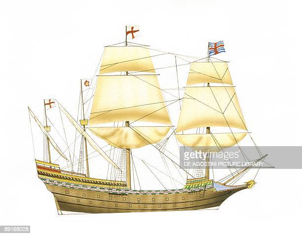 English galleon HMS Ark Royal illustration