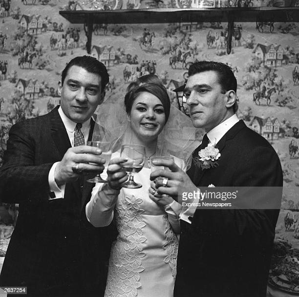 English gangsters Ronald and Reginald Kray the Kray Twins with Frances Shae at her wedding to Reggie Original Publication People Disc HF0516