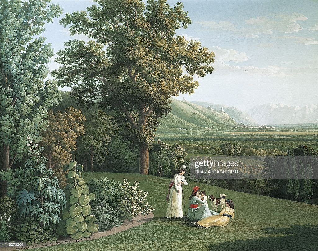 English garden at the Palace of Caserta, by Jacob Philipp Hackert (1737-1807). (Photo by DeAgostini/Getty Images) : News Photo