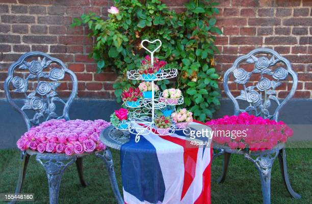 English garden furniture covered with roses