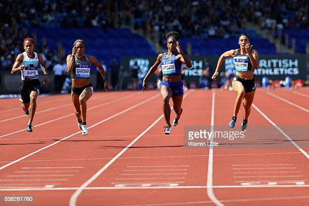 English Gardner of USA wins the Women's 100m final during the Birmingham Diamond League meet at Alexander Stadium on June 5 2016 in Birmingham England