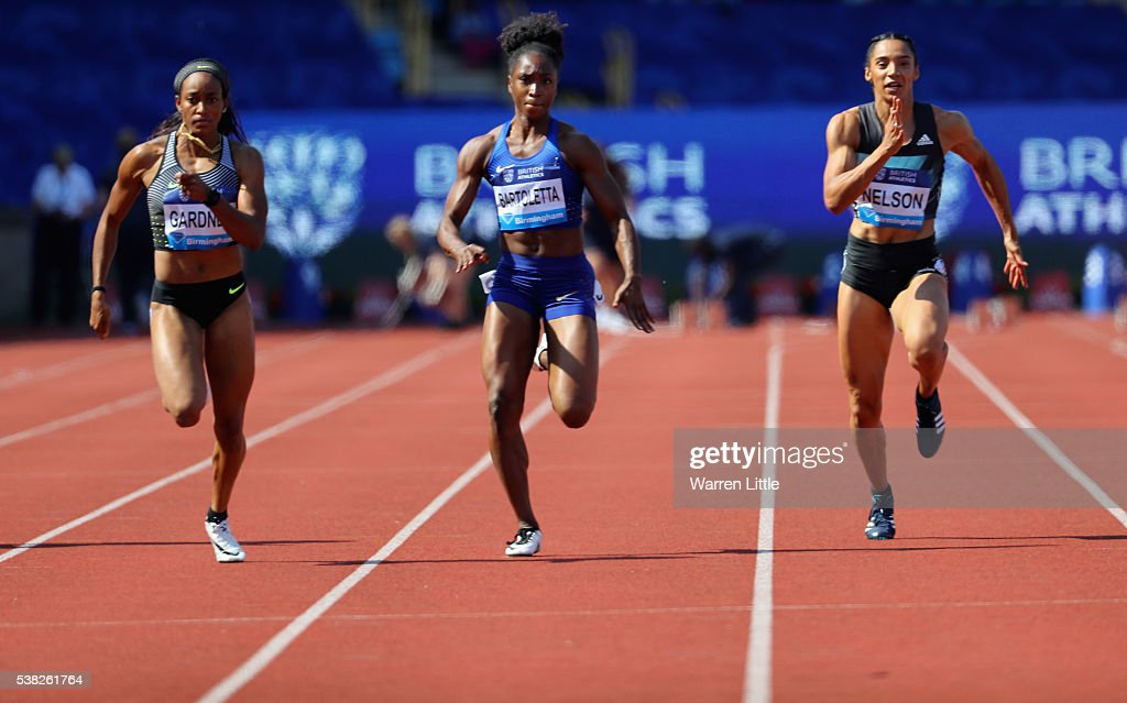 English Gardner Of USA Wins The Womenu0027s 100m Final During The Birmingham  Diamond League Meet At