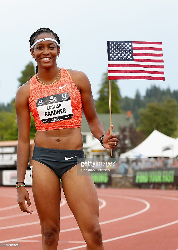 English Gardner Poses After Taking Second Place In The Womenu0027s 100 Meter  Dash Final During Day
