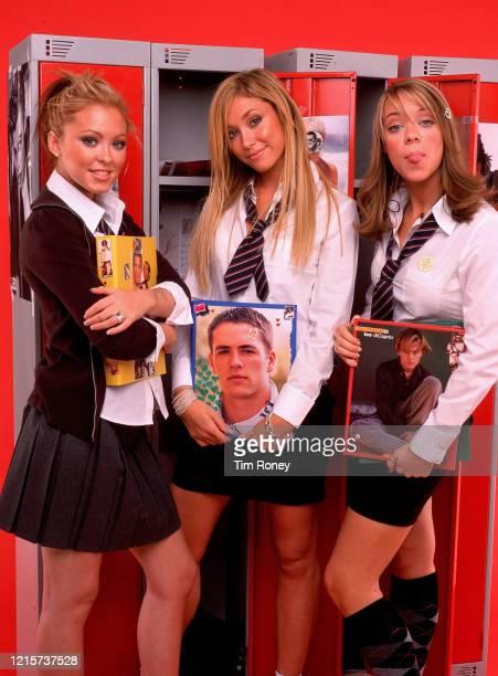 English girl group Atomic Kitten, circa 2002. From left to right, they are Natasha Hamilton, Jenny Frost, and Liz McClarnon.