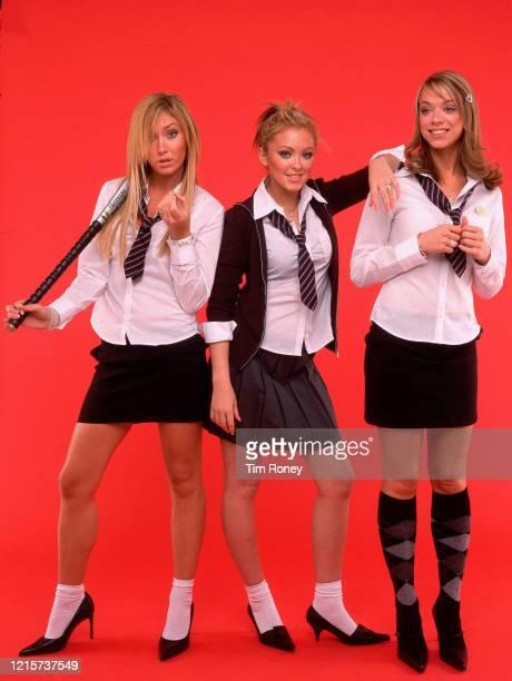 English girl group Atomic Kitten, circa 2002. From left to right, they are Jenny Frost, Natasha Hamilton and Liz McClarnon.