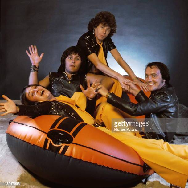 English glam rock band Mud, studio group portrait, London, September 1975, clockwise from left Les Gray, Ray Stiles, Rob Davis, Dave Mount.