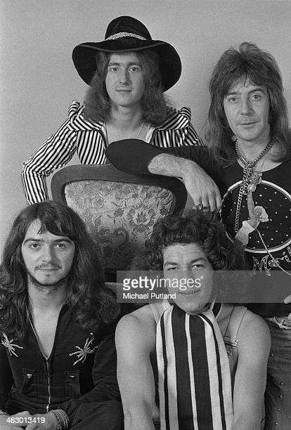 English glam rock group Geordie 10th July 1973 Clockwise from bottom left drummer Brian Gibson bassist Tom Hill guitarist Vic Malcolm and singer...
