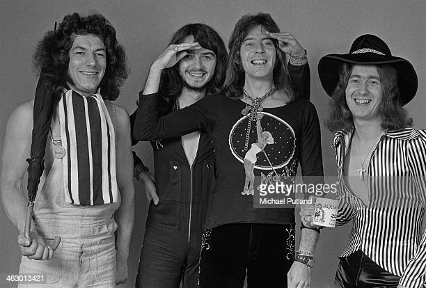 English glam rock group Geordie 10th July 1973 Left to right singer Brian Johnson drummer Brian Gibson guitarist Vic Malcolm and bassist Tom Hill...