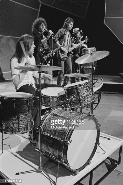 English glam rock group T Rex featuring, from left, drummer Bill Legend, singer & guitarist Marc Bolan , bassist Steve Currie and percussionist...