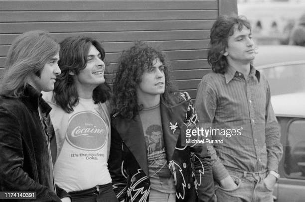 English glam rock group T Rex posed together at the Weeley Festival near Clacton-on-Sea, Essex on 28th August 1971. The band members are, from left...