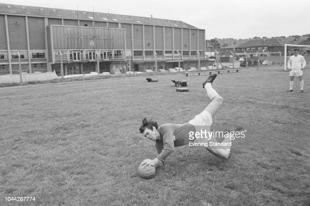 English goalkeeper David Harvey of Leeds United FC making a save during training UK 2nd August 1968